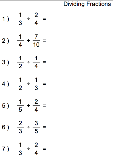 Fractions Division Worksheet - Laptuoso