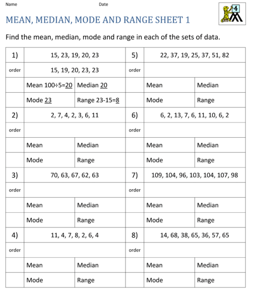 Printables Mean Mode Median Range Worksheet world 8 mean median mode range osky 6th grade math picture