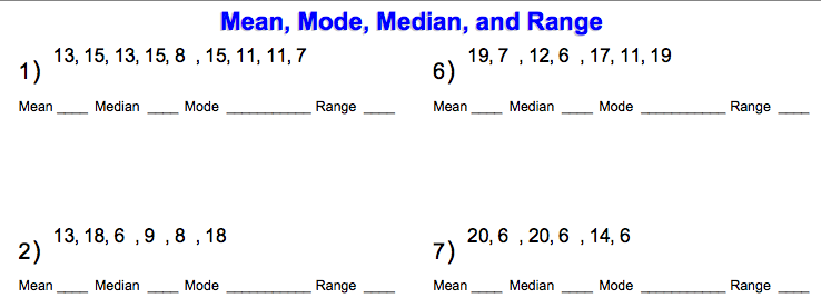 World 8 Mean Median Mode Range Osky 6th Grade Math – Median Mode Range Worksheet