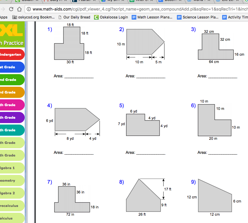 Finding area worksheets geometry