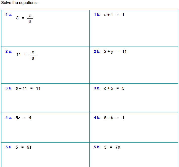 Single Step Equations Worksheets - Jennarocca